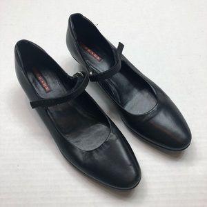 PRADA black closed toe strap kitten heel size 38.5